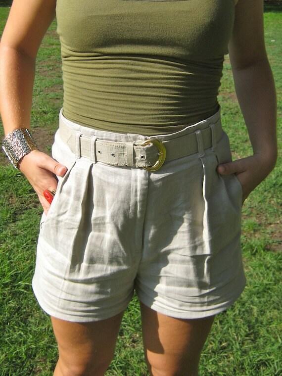 Lucky Lindy Linen High Waist Belted Tan Shorts