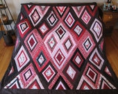 Floral Lattice Queen Size Quilt of Rosey Pinks and Chocolate Browns with Pillow Shams