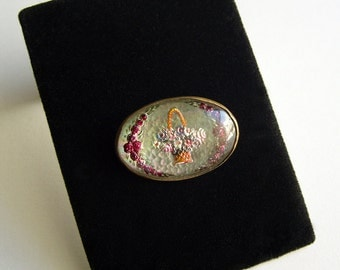 Reverse Painted Floral Brooch Early 1900's Edwardian Glass Brooch