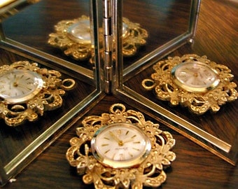 Ornate Gold Marcasite Pendant Watch Vintage Upcycle Repair