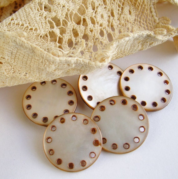 Vintage Mocha MOP Drilled Buttons