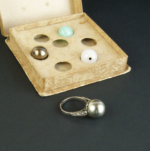 1930s Changeable Stone Sterling Ring