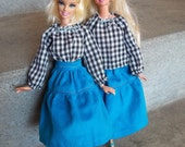 Barbie Clothes Outfit Vintage Peasant Top & Tiered Skirt