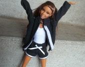 Barbie Workout Clothes Black Track Suit Jacket Shorts White Leotard