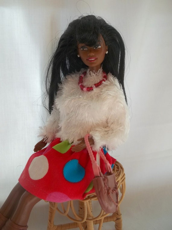 Barbie Clothes - Barbie Outfit - Corduroy Skirt & White Eyelash Fur Top