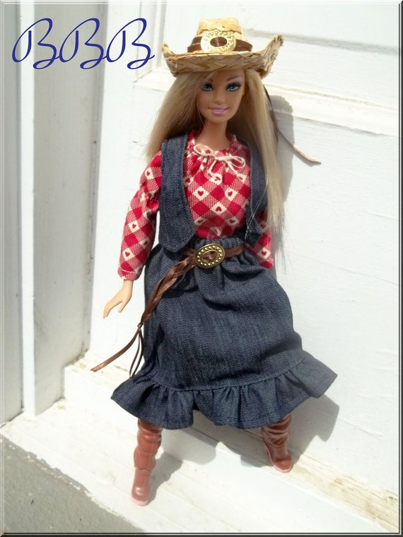 Barbie Outfit Cowgirl Barbie Country Western Doll Clothes Denim Vest and Skirt Peasant Top Cowboy Hat