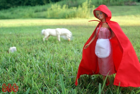 Barbie Clothes Dress Little Red Riding Hood Cape White Apron Gingham Costumes Fairy Tale