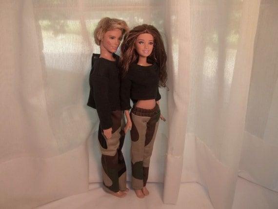 Barbie Clothes Ken Clothes Matching Outfits Black Tshirt Camo Pants
