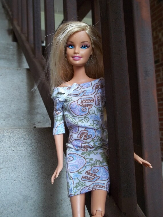 Handmade Barbie Dress Skull & Paisley Print
