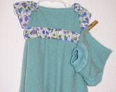 Aqua Cashmere and Cotton Little Girl's Dress with Matching Cashmere Bloomers  --  Size 1-4 yrs