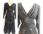 On hold for punkqueen108/////////Vintage black 80s evening dress by Casadei Size M