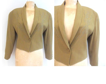 Mustard Blazer with Embroidery Detail along Lapel