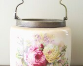 E.P.N.S. Porcelain Roses Biscut Jar Made in England Bronze Handle 1800's (Excellent)