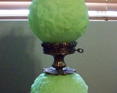 Reserved-----Fenton Satin Poppy Gone With The Wind Lamp Lime Green Vaseline Glass Glow