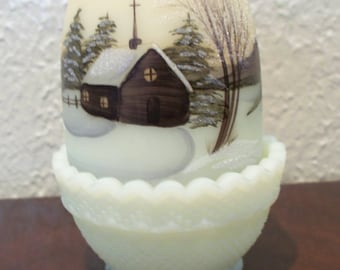 Fenton Glass Fairy Light Christmas Morn Church Scene 1978