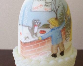"Fenton Christmas 1985 Fairy Light Fairy Lamp Christmas Fantasy ""Hearts Desire"" Hand Painted & Signed"