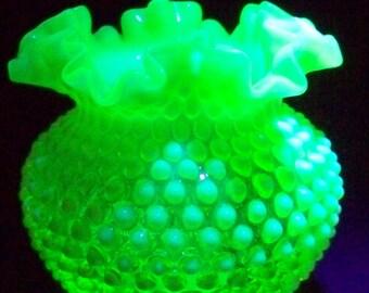 Fenton Topaz Opalescent, Vaseline Glass Hobnail Vase Double Crimped Top