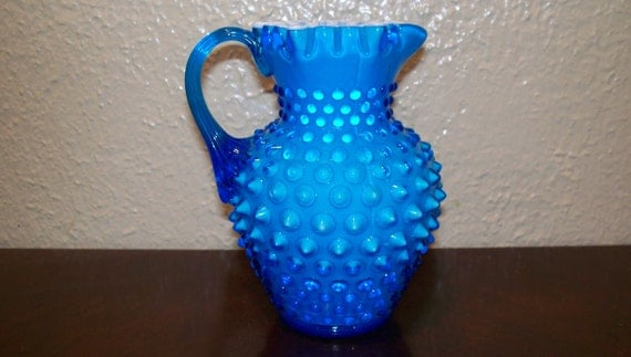 Fenton Opaque Blue Hobnail Syrup Pitcher