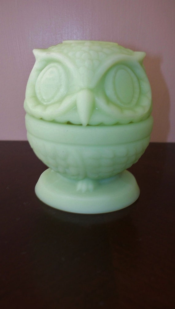 Vintage Fenton  Owl Fairy Light Green Satin