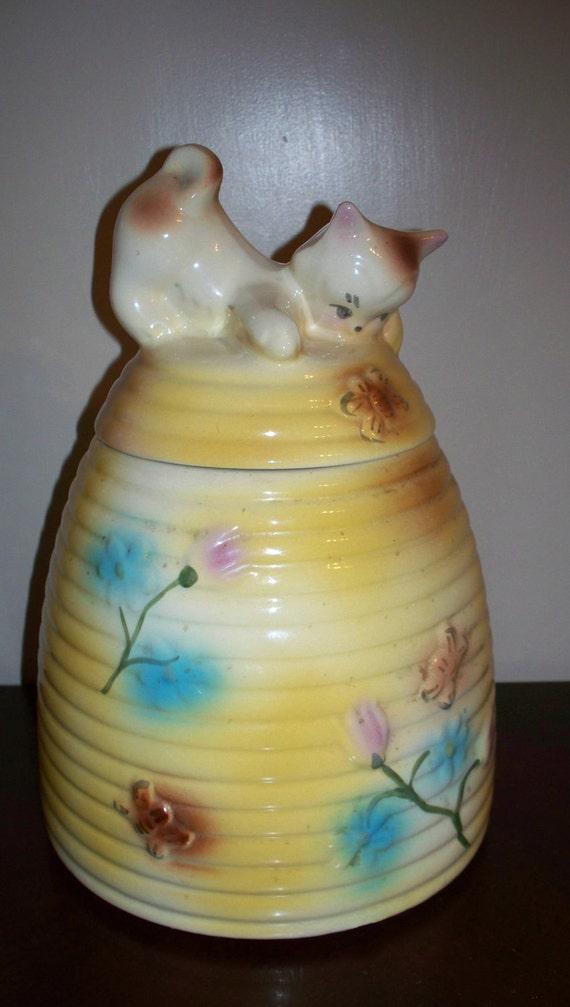 Kitten on beehive american bisque cookie jar by vintagesouthwest - Beehive cookie jar ...