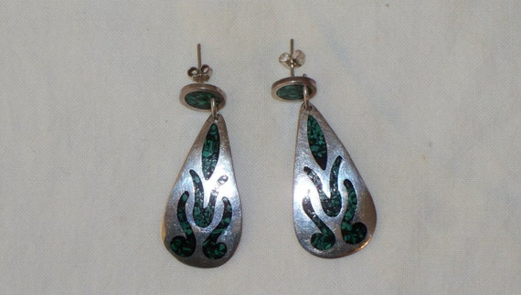 Reserved----------------------Silver Earrings Malachite Inset Mexican 925 Tear Drop Shape