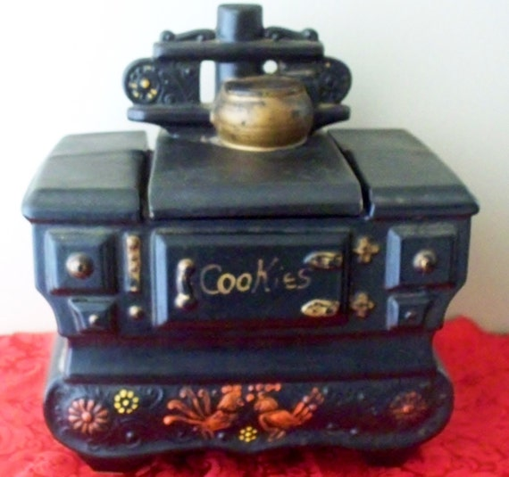 McCoy Pottery Cook Stove Cookie Jar 1962 Black & Gold With Red Roosters Farm Chic Decor Rustic Kitchen Decor