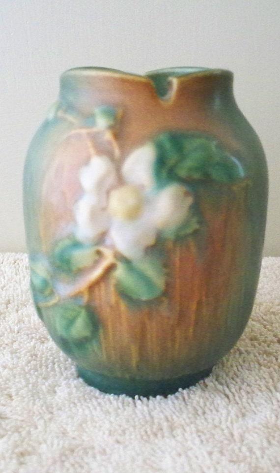 Roseville Art Pottery Vase White Rose Design 987 4 1940 S