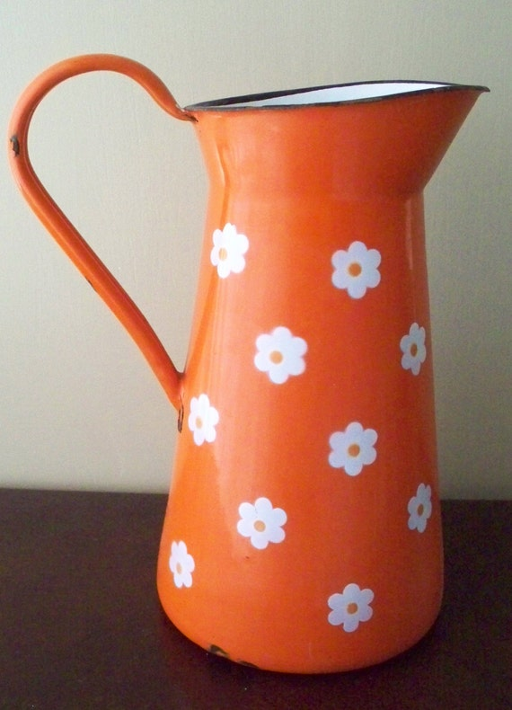 Vintage Enamelware Pitcher Orange With White By