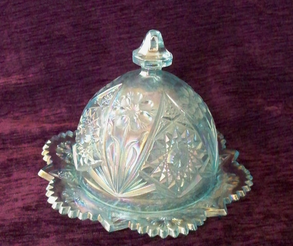 Imperial Ice Blue Carnival Glass Butter Dish Domed Lid Cosmos Design Iridescent Pagoda Handle