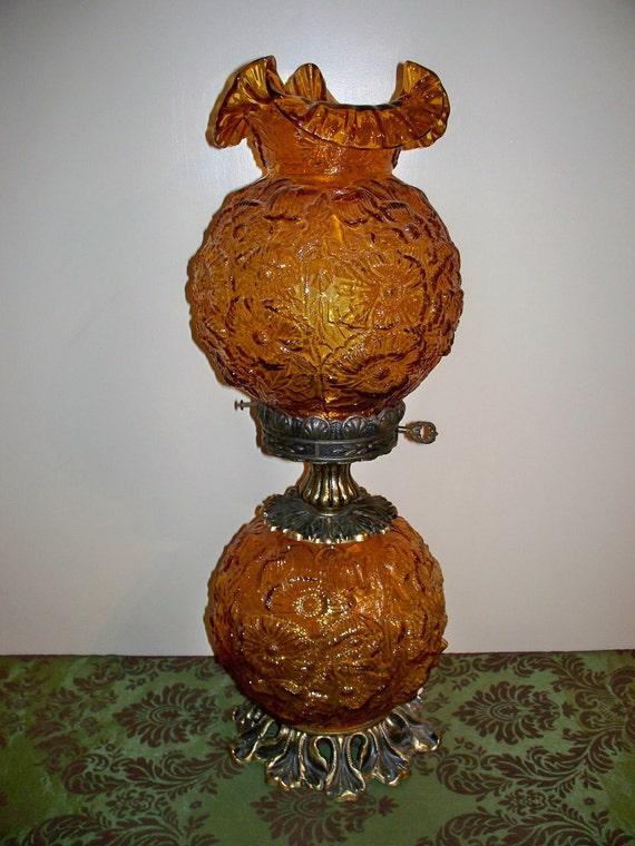 Vintage Fenton Poppy Gwtw Lamp 3 Way Lighting Double Ball