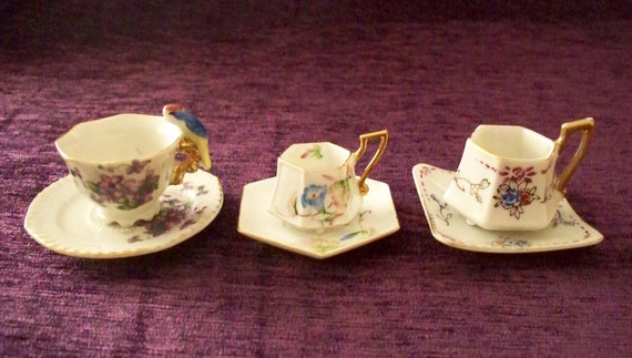 Set Of 3 Miniature Tea Cup And Saucers Occupied Japan Hand