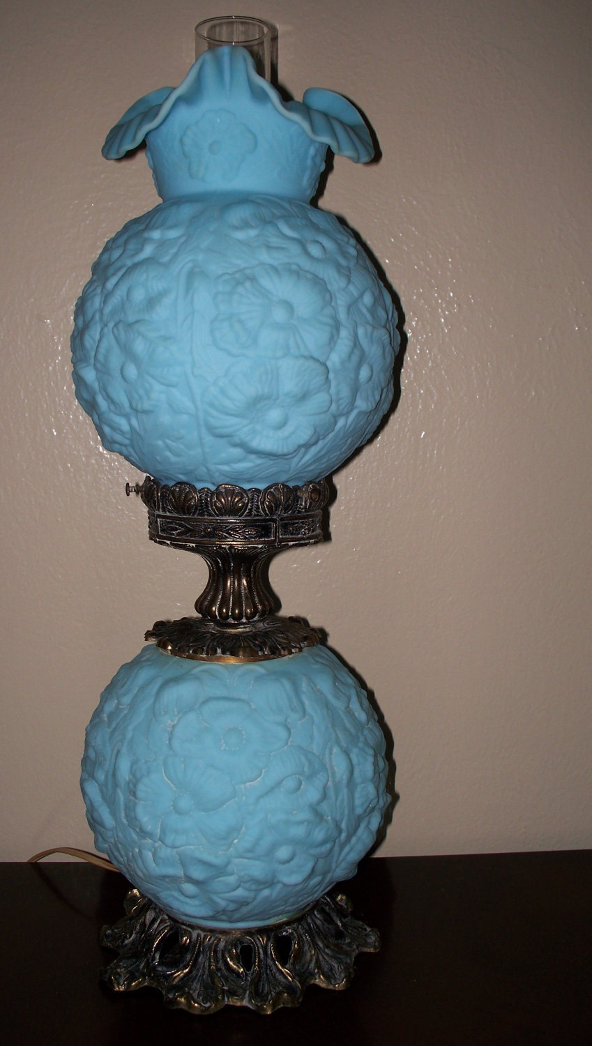 Fenton Blue Satin Poppy Gone With The Wind Lamp