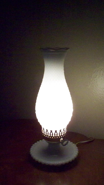 Vintage Fenton Electric Hurricane Lamp Milk Glass Hobnail