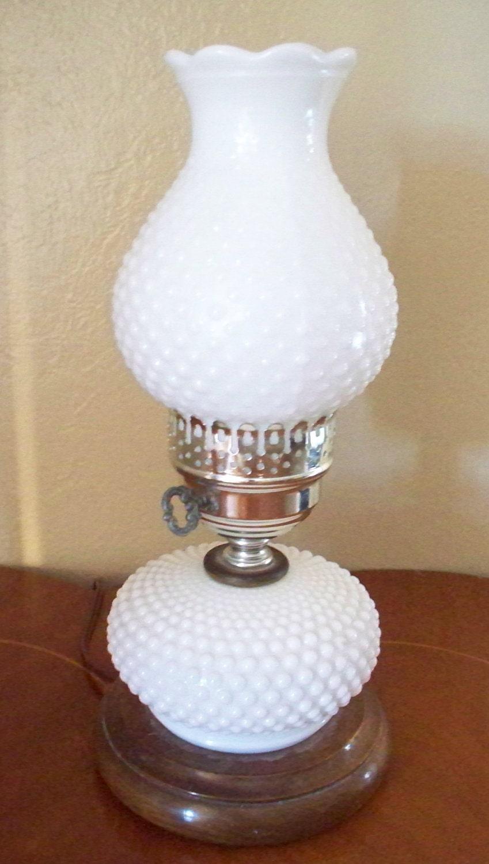 vintage milk glass hobnail hurricane electric lamp wooden base