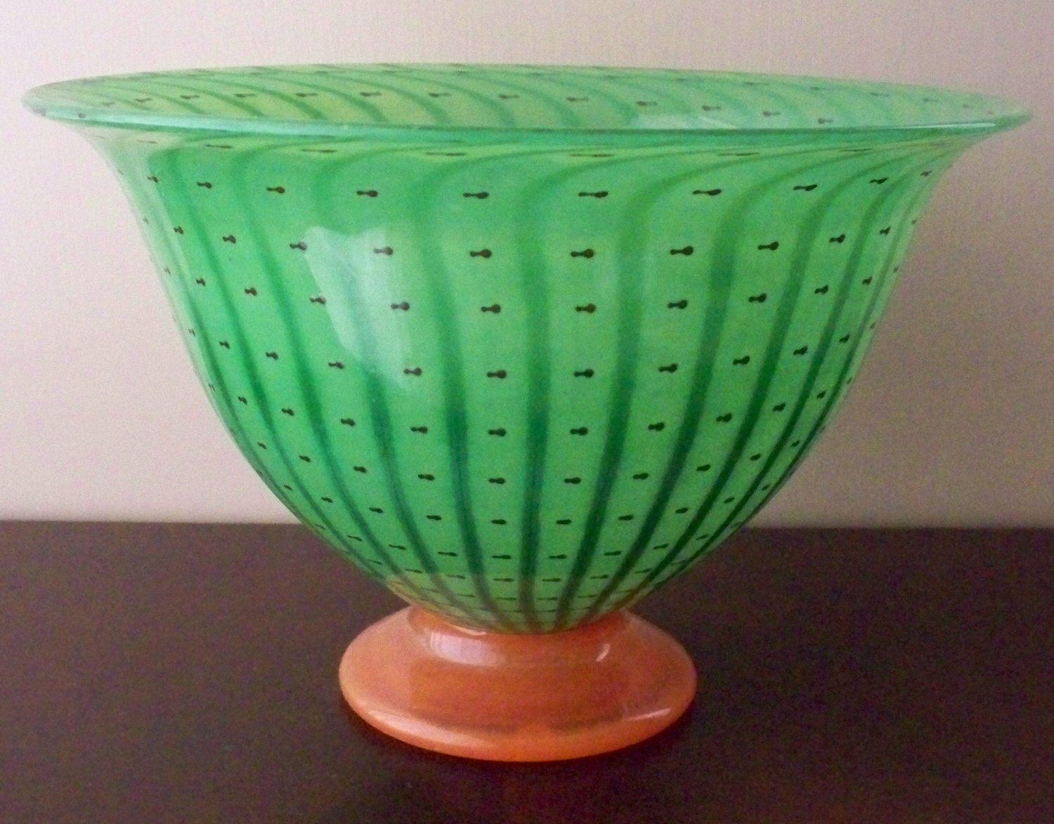 Vintage Watermelon Bowl Hand Blown Glass Green By Vintagesouthwest