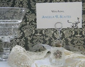 Vintage Upcycled Salt Shaker Photo Holder/Place Card Holder Shabby Chic embellished with lace and rhineshone button