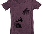 Vintage GRAMPIANO Mens' Women's MUSIC T shirt  - American Apparel Unisex - Heather Plum   (9 COLORS)  Sizes xs, s, m, l, xl - (cts) (ns)