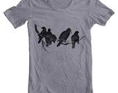 Men's T Shirt Birds on a Limb American Apparel Tshirt Animal Birds Block Print Style Screen Printed Shirt XS, S, M, L, XL