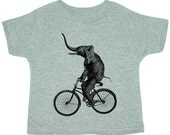 Boys Girls Kids T Shirt - ELEPHANT Riding a BIKE - Toddler and Children Shirt - Sizes 18M 2T 3T 4T 5 6  7 - Grey  (4 CoLORS) - (ccht)