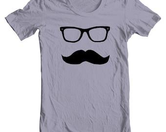 Unisex T Shirt Mustache Wayfarer American Apparel Mens Womens Short Sleeve Tee Movember No Shave November