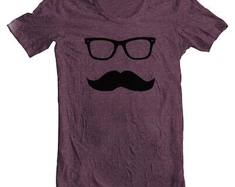 Men's T Shirt Mustache Wayfarer American Apparel Moustache Tee Tshirt Sunglasses Short sleeve xs, s, m, l, xl humor