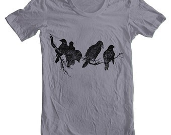 Men's T Shirt Birds on a Limb American Apparel Tshirt Animal Birds Block Print Style Screen Printed Shirt XS, S, M, L, XL