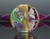 Lampwork focal bead, handmade glass floral organic lentil bead, Water Floral