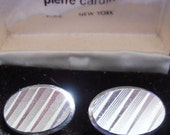 1970 Pierre Cardin Boxed Silvertone and Stripe French Cuff Links
