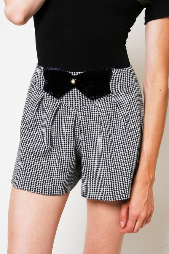 I Know What Boys Like - High Waisted HOUNDSTOOTH Shorts with Velvet CUMMERBUND- Vintage, Grunge