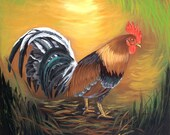 "Oil Painting on canvas 14""x21""  ""Rooster"" . Five  Art to Choose. Cuban Art"