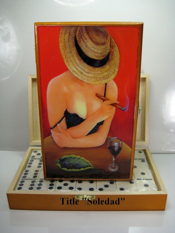Holidays Gift. Professional Dominoes Set with Artwork. Five artworks to choose