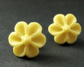 Yellow Flower Earrings with Bronze Earring Posts. Outie Button Flower Jewelry. Handmade Jewelry.