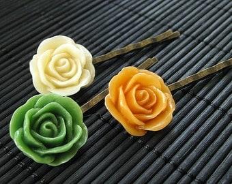Harvest Inspired Rose Flower Bobby Pins in Orange, Green and Cream. Handmade.