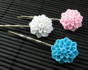 Baby Shower Inspired Mum Flower Hair Pins in Pink, Blue and White. Handmade.